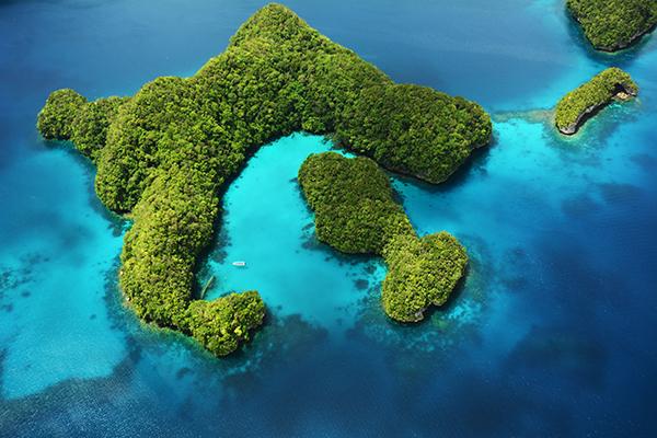 Luftaufnahme Rock Islands Palau Milky Way